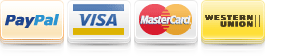 Paypal, Visa, Master Card and Western Union